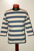 WARE HOUSE (ウエアハウス) 7分袖2インチボーダーTシャツ 4051 ブルー×キナリ