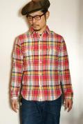 UES (ウエス) 追撚チェックシャツ 501601 ピンク