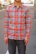 UES (ウエス)/空羽チェックシャツ/501301/レッド