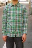 UES (ウエス)/空羽チェックシャツ/501301/グリーン