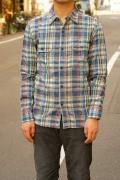 UES (ウエス)/空羽チェックシャツ/501301/ネイビー