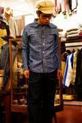 UES (ウエス) シャンブレーワークシャツ 500954 ブルー・ワンウォッシュ