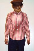 UES (ウエス) コードギンガムチェック・ボタンダウンシャツ 501405 レッド