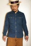 "JELADO (ジェラード) 長袖ワークシャツ JP21107 ""Railroader Shirts"" インディゴ ウォバッシュ・トランプ柄"