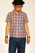 UES (ウエス)/半袖ドビーチェックシャツ/551204/レッド