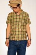 UES (ウエス)/半袖ドビーチェックシャツ/551204/グリーン