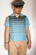 "STAR OF HOLLYWOOD (スターオブハリウッド) 半袖オープンシャツ SH37280 ""ELVIS DOTS"" ブルー"