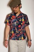 """SUN SURF (サンサーフ) 半袖ハワイアンシャツ SS37474 """"HAWAII CALLS"""" ネイビー"""