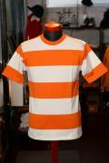WARE HOUSE (ウエアハウス) 半袖4インチボーダーTシャツ 4052 オレンジ×ベージュ
