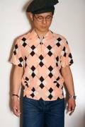 """STAR OF HOLLYWOOD (スターオブハリウッド) 半袖プルオーバーシャツ SH37592 """"ARGYLE"""" ピンク"""