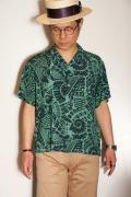"STAR OF HOLLYWOOD (スターオブハリウッド) 半袖オープンシャツ SH37595 ""AMMONITE"" M.グリーン"