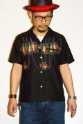 "STAR OF HOLLYWOOD (スターオブハリウッド) 半袖オープンカラーシャツ SH36596 ""FISHING"" ブラック"