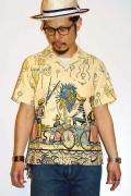 "STAR OF HOLLYWOOD (スターオブハリウッド) 半袖オープンカラーシャツ SH36599 ""CARIBBEAN CITY"" オフホワイト"