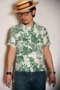 """SUN SURF (サンサーフ) 半袖ハワイアンシャツ SS36822 """"COCONUT TREE CLIMBER"""" グリーン"""