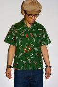 スターオブハリウッド/オープンカラーシャツ/SH35819/SPACE TRAVEL/グリーン