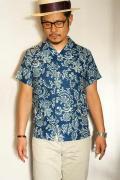 Pherrow's (フェローズ) リネン・半袖オープンカラーシャツ 16S-PIS1 インディゴ・ペイズリー