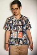"STAR OF HOLLYWOOD (スターオブハリウッド) 半袖オープンカラーシャツ SH36949 ""KABUKI"" ブラック"