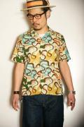 "STAR OF HOLLYWOOD (スターオブハリウッド) 半袖オープンカラーシャツ SH36950 ""WAVE LINES"" ミントグリーン"