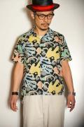 "STAR OF HOLLYWOOD (スターオブハリウッド) 半袖オープンカラーシャツ SH36950 ""WAVE LINES"" ブラック"