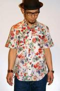 衣櫻 (ころもざくら)/和柄ワークシャツ/SA-667/GARDEN FLOWERS/ホワイト