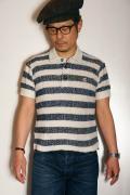 Pherrow's (フェローズ) ポロシャツ 17S-バカパイルポロ・リップルボーダー ナチュラル×ネイビー