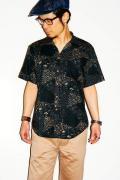 衣櫻 (ころもざくら)/和柄イタリアンカラーシャツ/581/4SEASON FLOWERS/ブラック