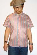SUGAR CANE (シュガーケーン) ヴィンテージストライププリント・半袖ワークシャツ SC36609 レッド
