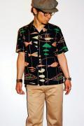 スターオブハリウッド/オープンカラーシャツ/SH35386/MOBILE OF FISH/ブラック