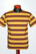 WARE HOUSE (ウエアハウス)/半袖2インチボーダーTシャツ/4022/アズキ×ゴールド