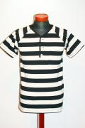 "Dapper's (ダッパーズ) ヘンリーネック・半袖ボーダーTシャツ 1062 ""Raglan Henley Border Work Tee"" ブラック×オフホワイト"