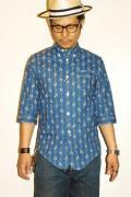 "WORKERS (ワーカーズ) 7分袖ボタンダウンシャツ ""3/4 Sleeve Shirt, Floral Dots"" インディゴ"