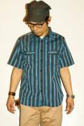 SUGAR CANE(シュガーケーン)/ドビーストライプ・半袖ワークシャツ/SC35871/ネイビー