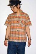 シュガーケーン・ライト/スペックチェック・半袖オープンカラーシャツ/SC35892/ベージュ
