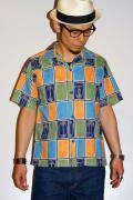 スターオブハリウッド/半袖オープンカラーシャツ/SH35820/ABSTRACT FACE/ネイビー