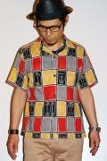 スターオブハリウッド/半袖オープンカラーシャツ/SH35820/ABSTRACT FACE/ブラック