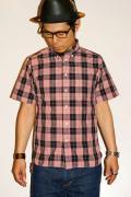 シュガーケーン・ライト/ブロードチェック・半袖ボタンダウンシャツ/SC35895/ピンク