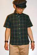 シュガーケーン・ライト/ブロードチェック・半袖ボタンダウンシャツ/SC35895/グリーン
