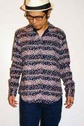 衣櫻 (ころもざくら)/和柄イタリアンカラーシャツ/SA-704/小桜横縞文様/ネイビー