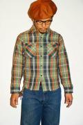 UES (ウエス) 先染ヘビーネルシャツ 501351 グリーン