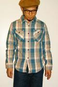 UES (ウエス)/先染ヘビーネルシャツ/501252/ブルー