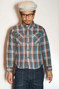 UES (ウエス) 先染ヘビーネルシャツ 501552 ブルー
