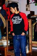 MWS (エムダブルエス)/長袖Tシャツ/CHECKER ROAD/ブラック×G.レッド