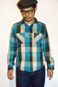 """DELUXEWARE (デラックスウエア) ネルシャツ HV-18 """"BLUE BUFFALO"""" ブルーバッファロー"""