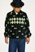 スタイルアイズ/コーデュロイ・オープンカラーシャツ/SE25974/ARGYLE/ブラック