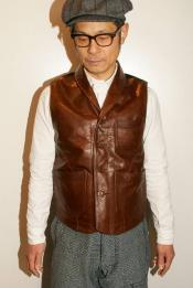 "DALEE'S (ダリーズ) レザーベスト ""Lyser (レイザー)"" ...Spring Leather Vest D.ブラウン"