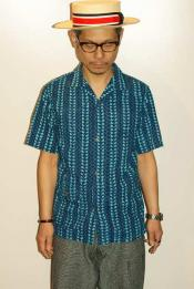 "WORKERS (ワーカーズ) オープンカラーシャツ ""Open Collar Shirt, Hand Block Print Cloth"" ブルー"