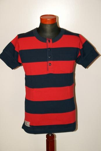 "Dapper's (ダッパーズ) ヘンリーネック・半袖ボーダーTシャツ 1183 ""Widepitch Border Four Button Henley Rib Tee"" ネイビー×レッド"