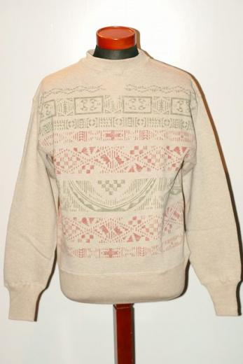 "HELLER'S CAFE (ヘラーズカフェ) スウェット HC-M45 ""INDIAN PATTERN CREW NECK SWEAT"" オートミール"