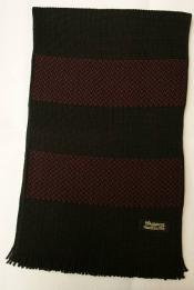 "Dapper's (ダッパーズ) ウール・マフラー 1279 ""Russell Knitting Woolen Scarf by V.FRAAS"" ブラック/レッド (ボーダー)"